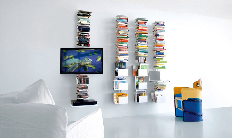 Image of: DVD Bookcase Wall Mounted