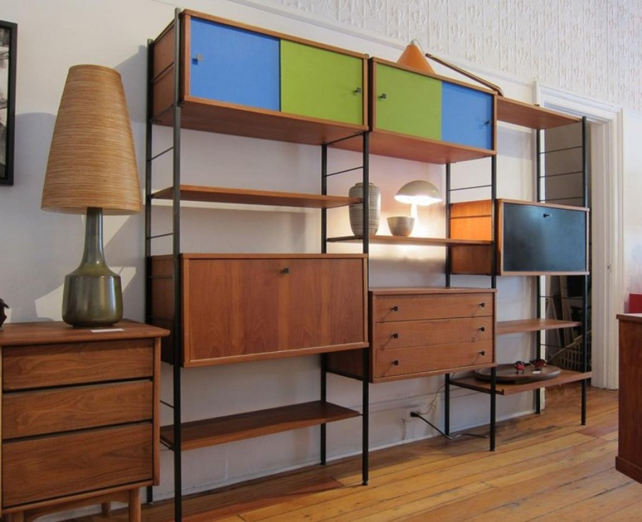 Image of: Danish modern bookcase with doors