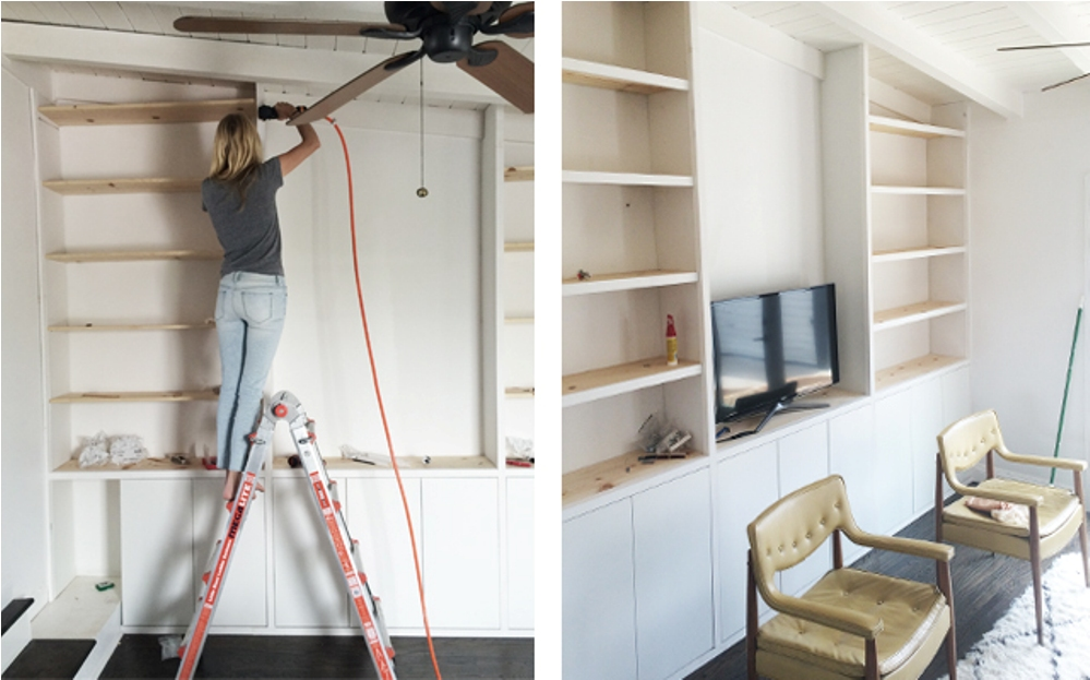 Image of: Diy built in bookcase around fireplace