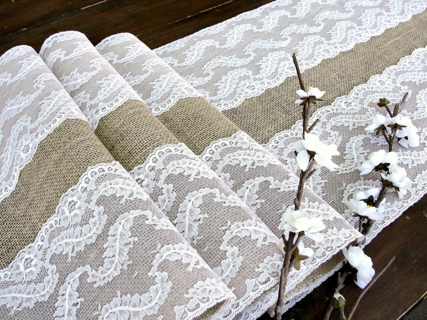Image of: Doily Table Runner Wedding
