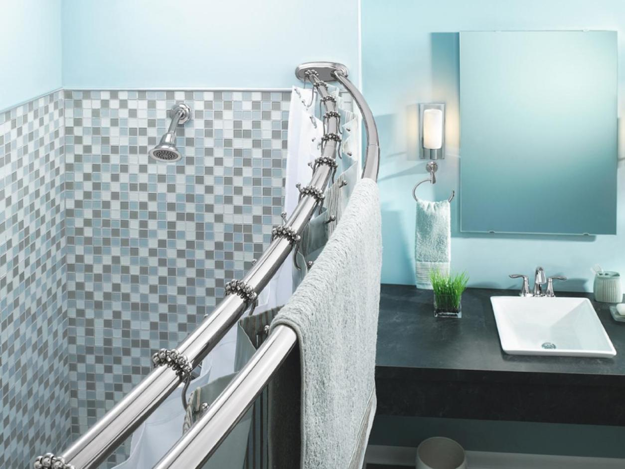Image of: Double Curved Shower Curtain Rod