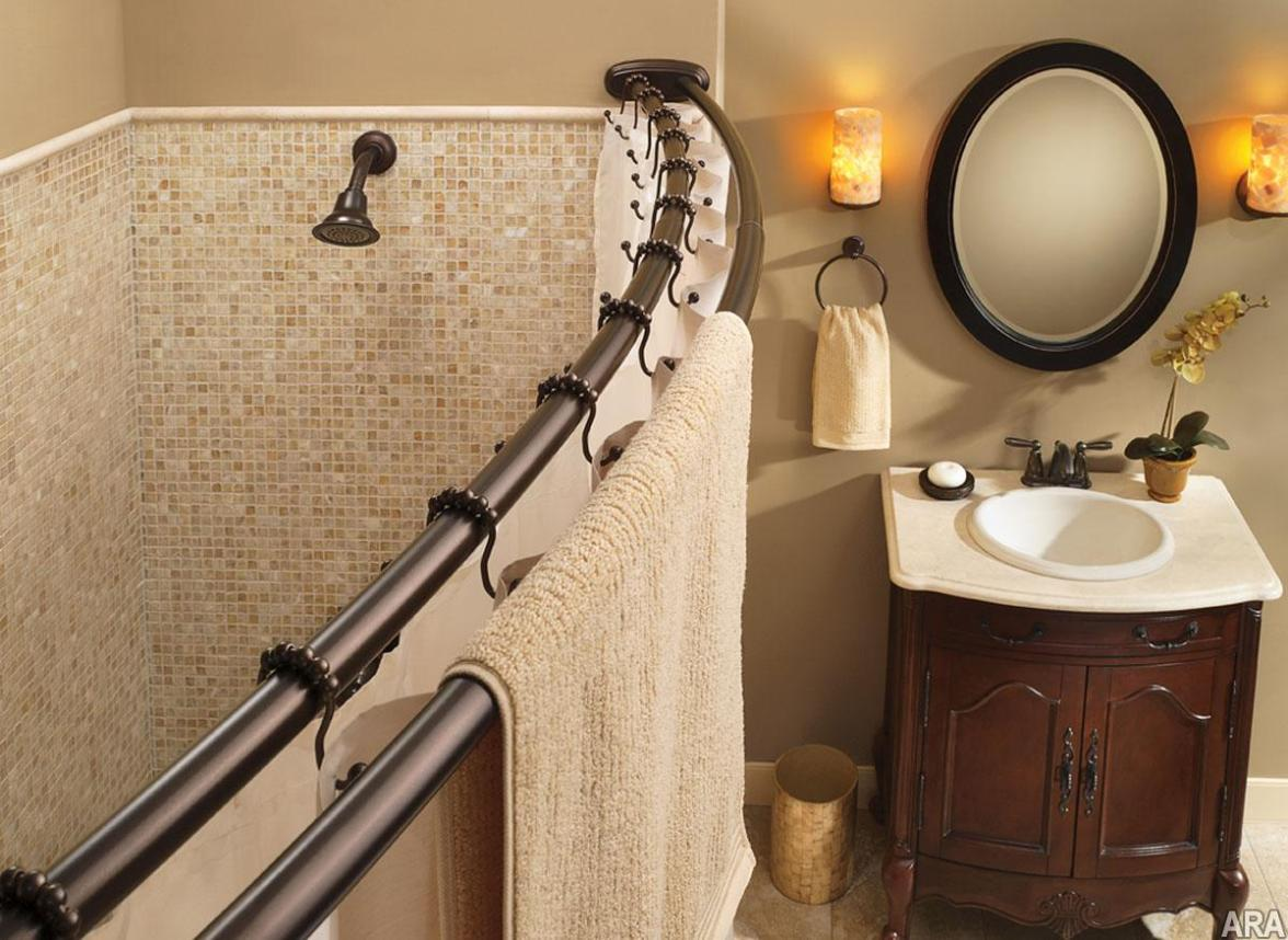 Image of: Double Rod Shower Curtain Rod Curved