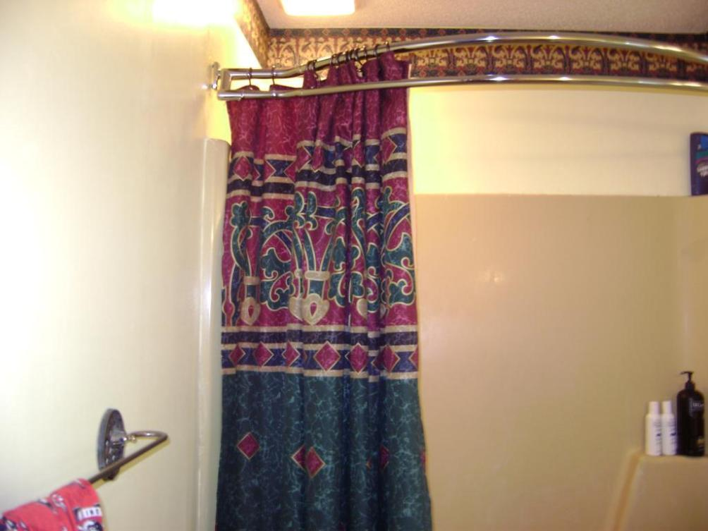 Image of: Double Shower Curtain Rod Bronze