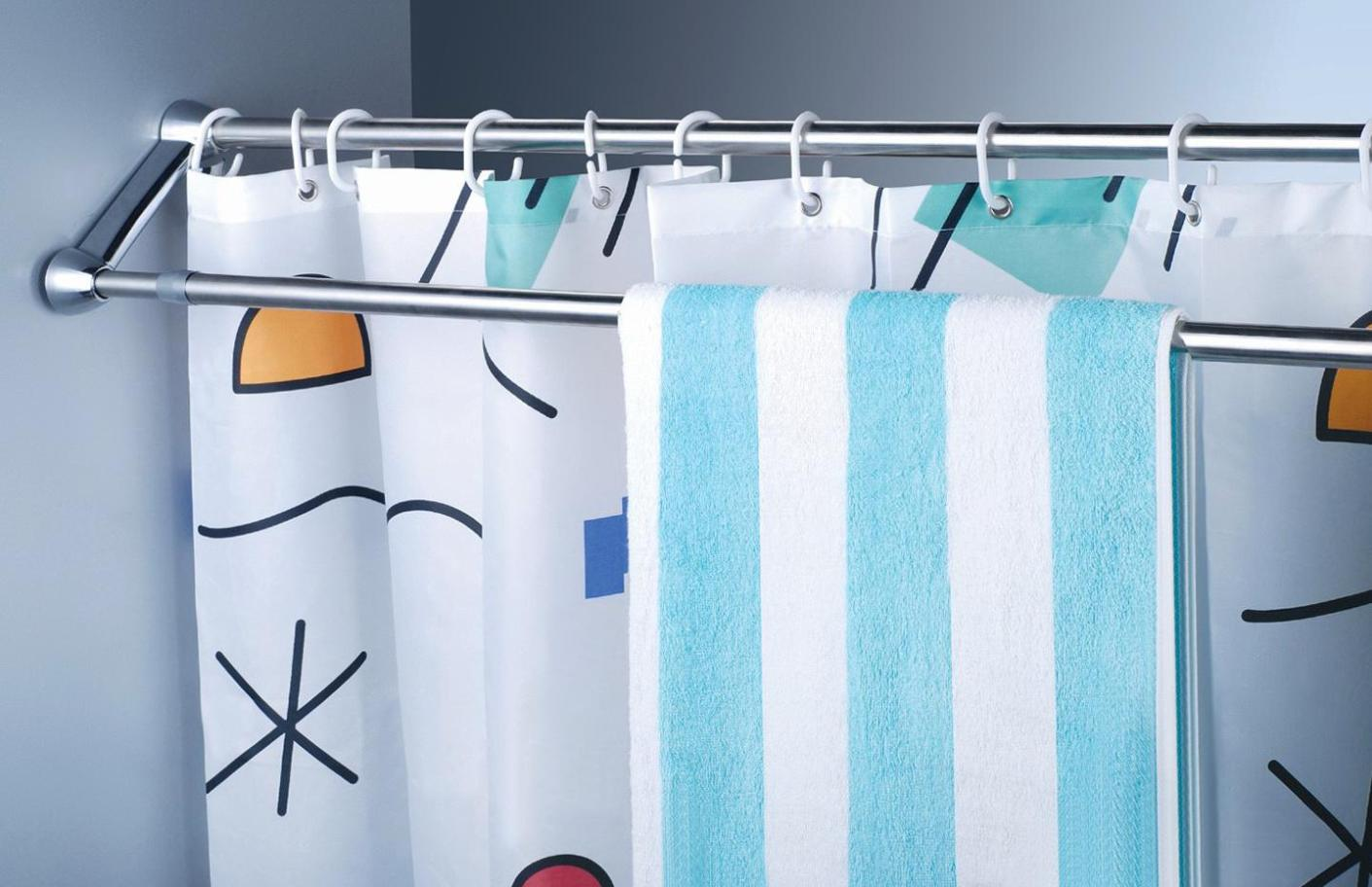 Image of: Double Shower Curtain Tension Rod