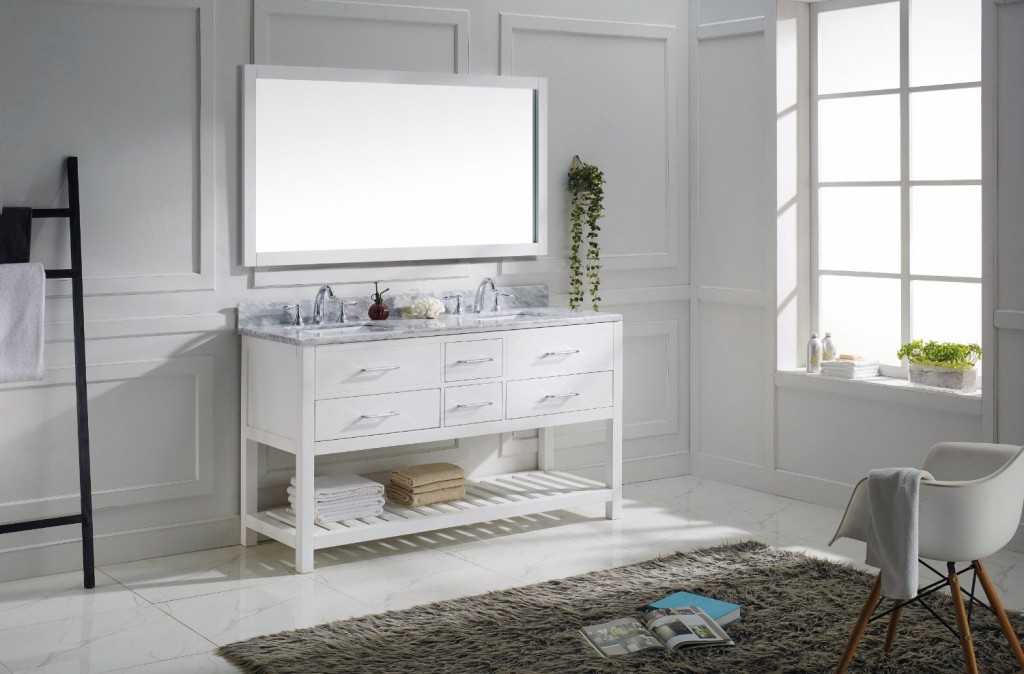 Image of: Double Sink White Dresser With Mirror