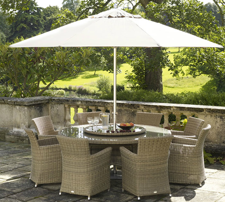 Image of: Durable Patio Furniture with Umbrella