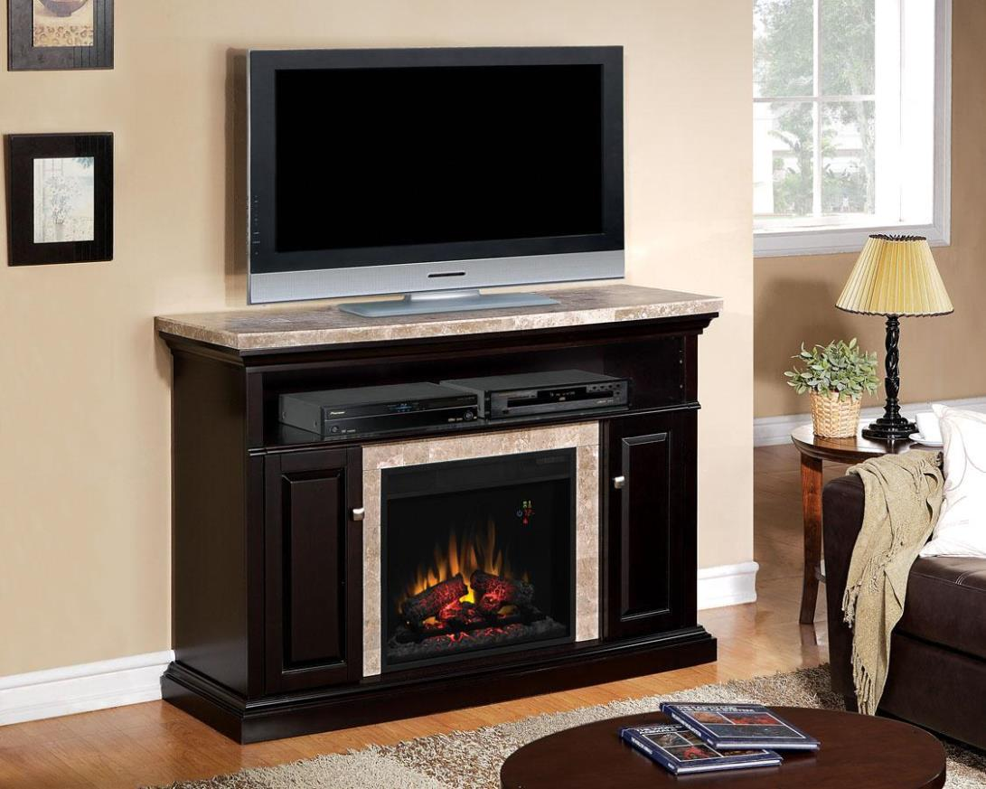 Image of: Electric Fireplace Media Console Black