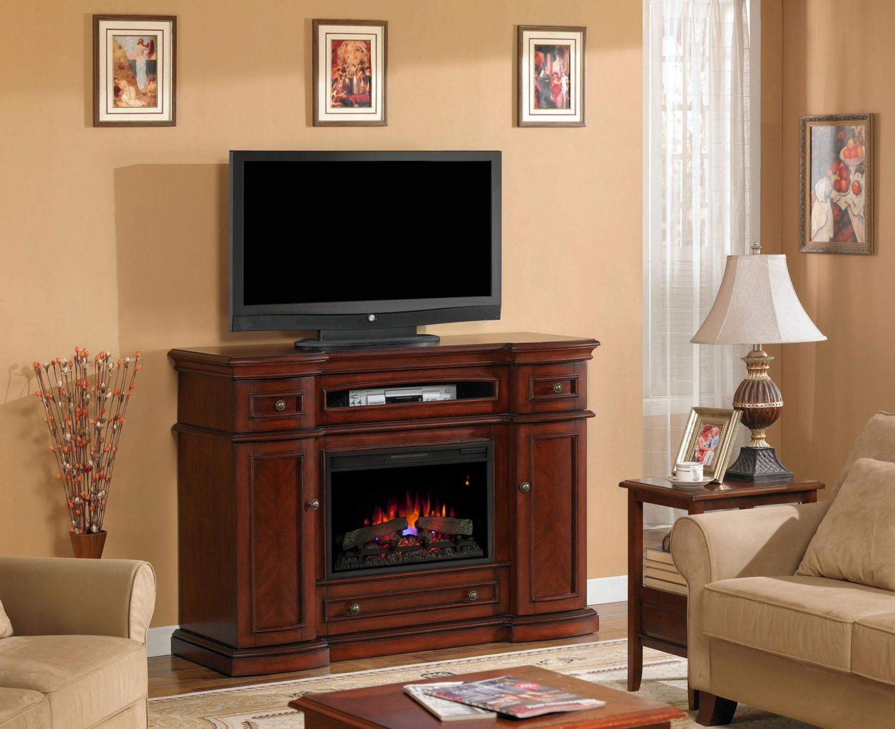 Image of: Electric Fireplace With Tv Above