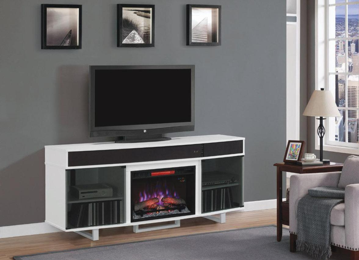Image of: Electric Fireplaces With Mantel White