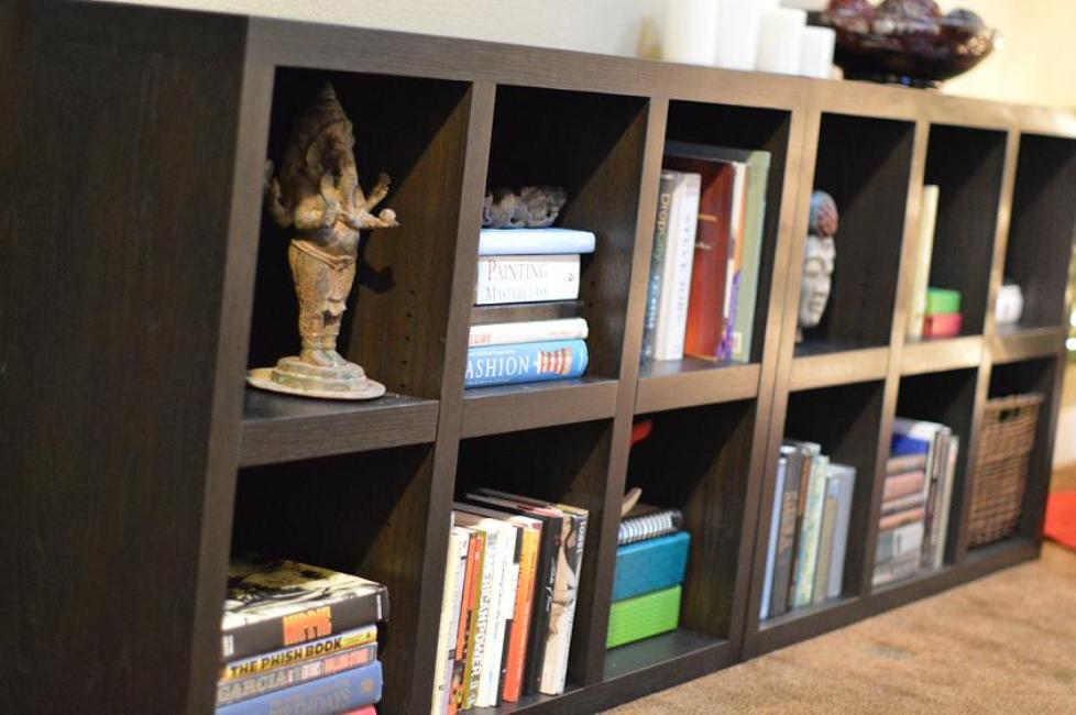 Image of: Espresso bookcase with doors