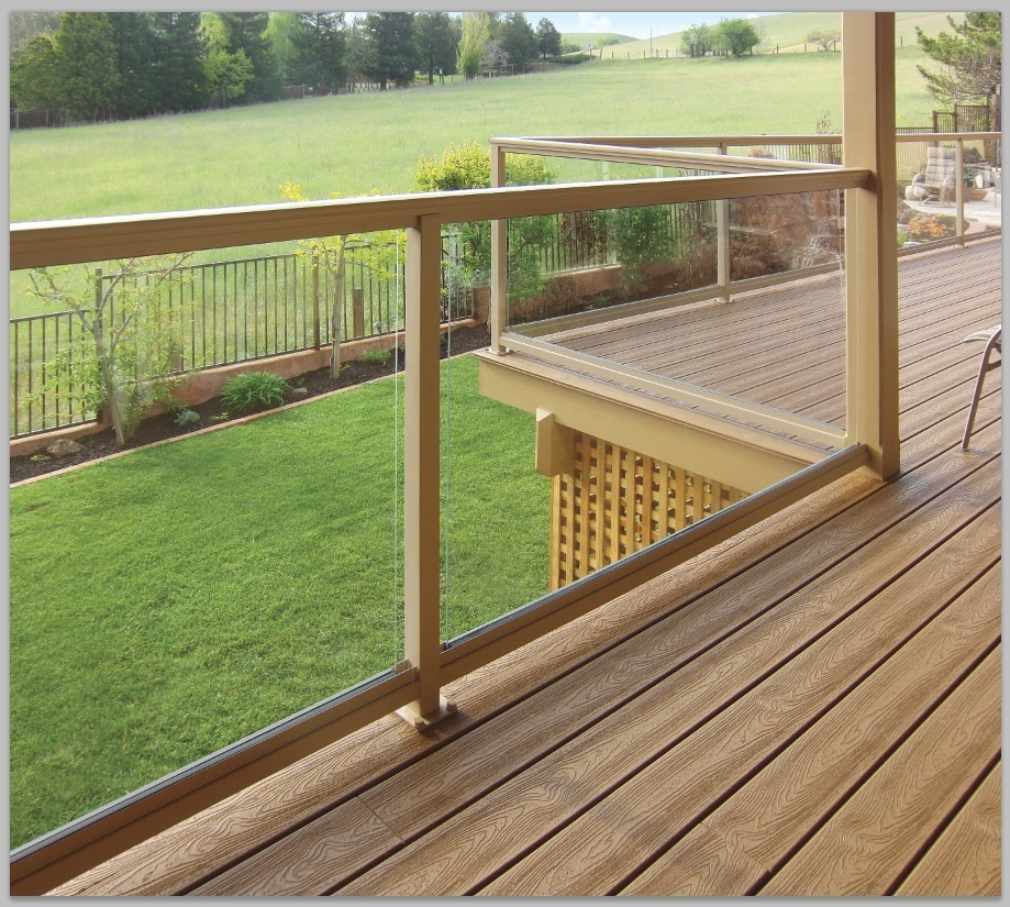 Image of: Expands Glass Deck Railing