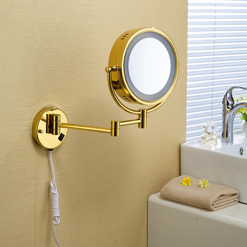 Image of: Gold Lighted Makeup Mirror Wall Mounted