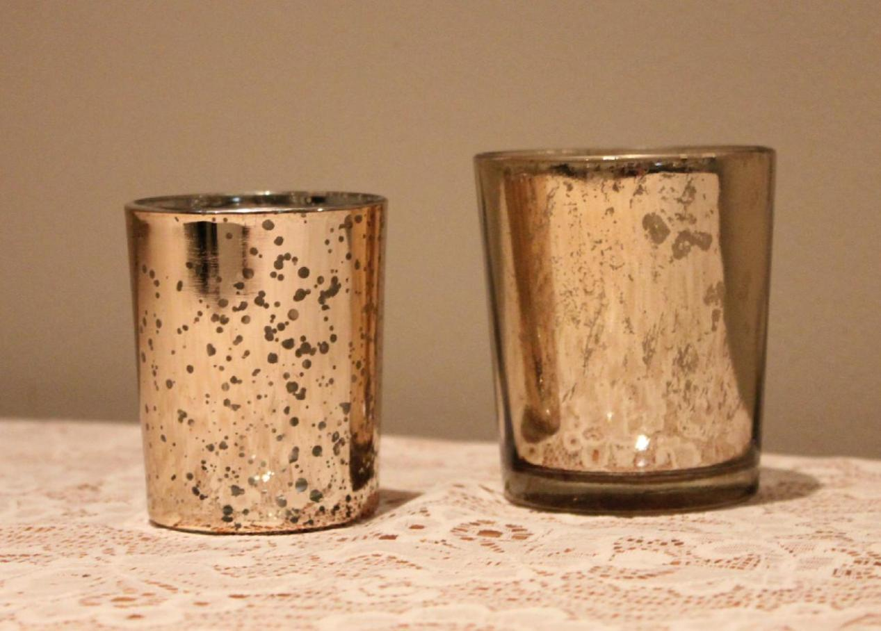 Image of: Gold Mercury Glass Candle Holders