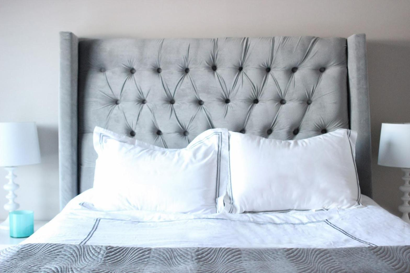 Image of: Gray Tufted Headboard King