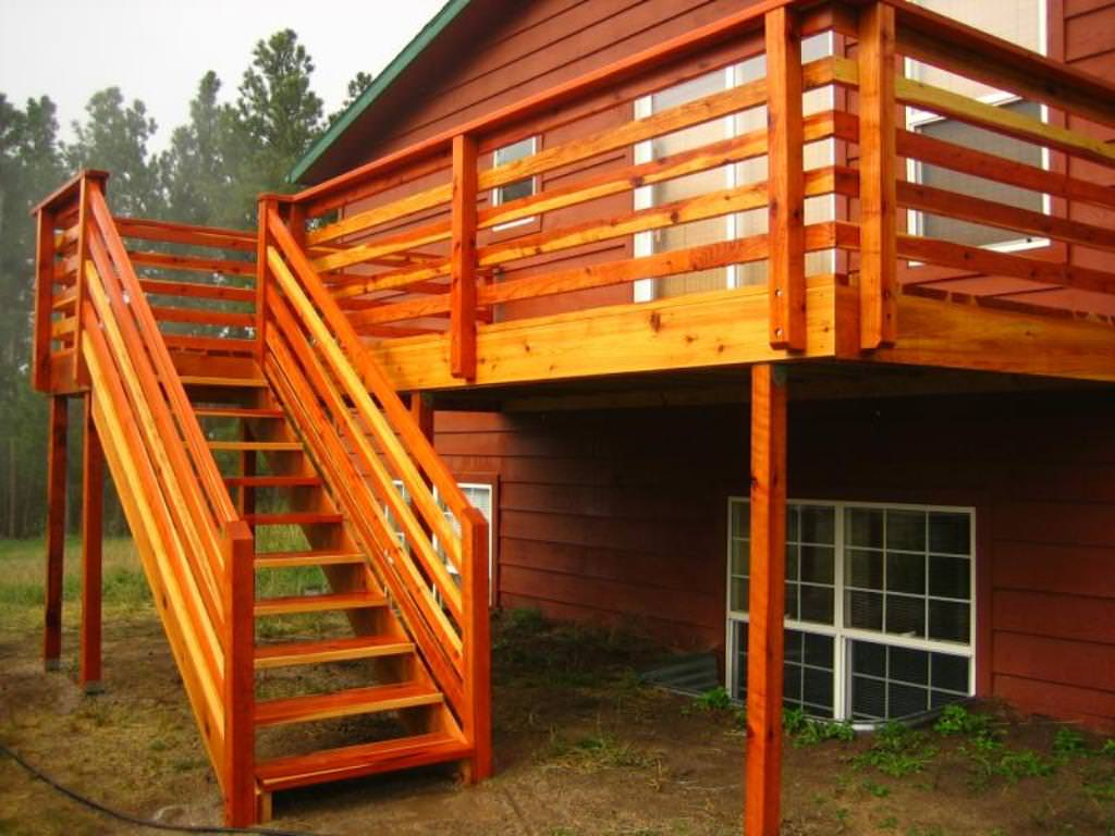 Image of: Horizontal Deck Railing Wood