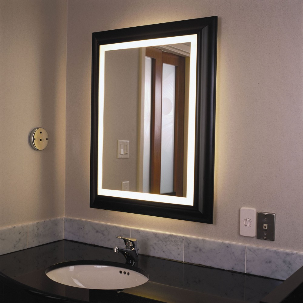 Image of: Ideas Lighted Makeup Mirror Wall Mounted