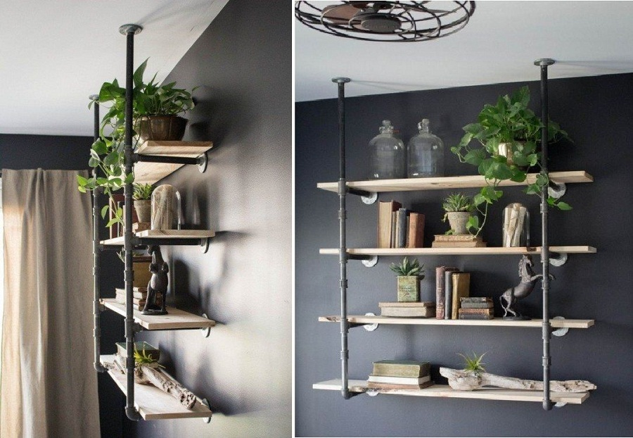 Image of: Industrial Bookcase Wall