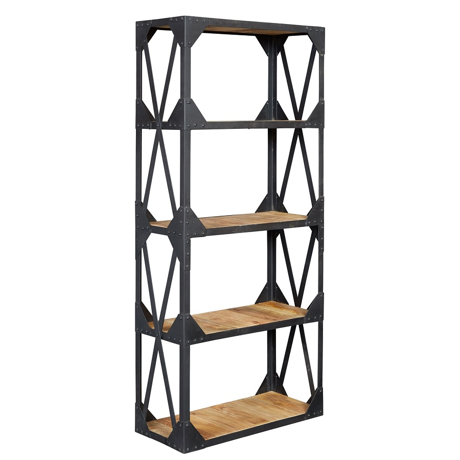 Image of: Industrial Bookcase Wood and Metal