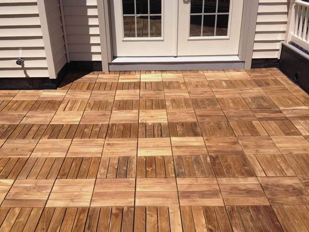 Image of: Interlocking Deck Tiles over Grass