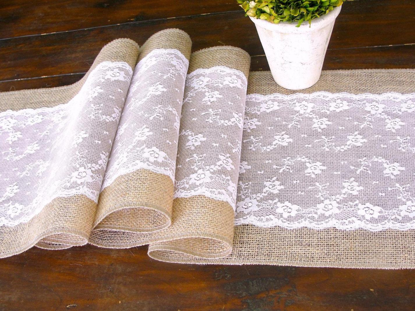 Image of: Lace And Burlap Table Runner