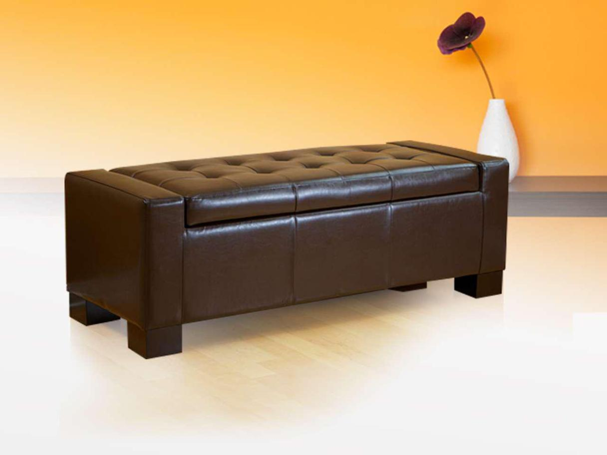 Image of: Leather Storage Ottoman Bench