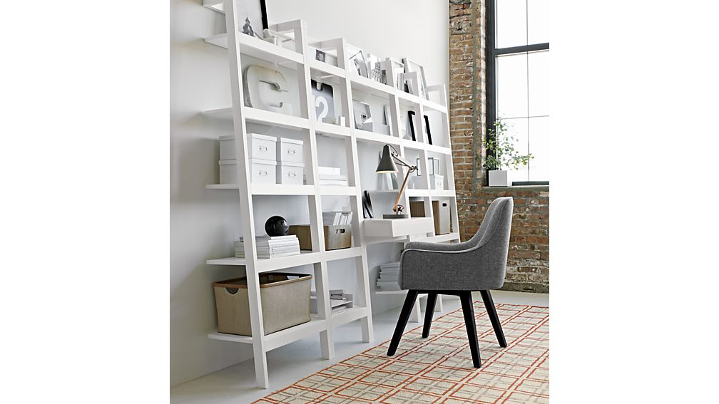 Library White Leaning Bookcase
