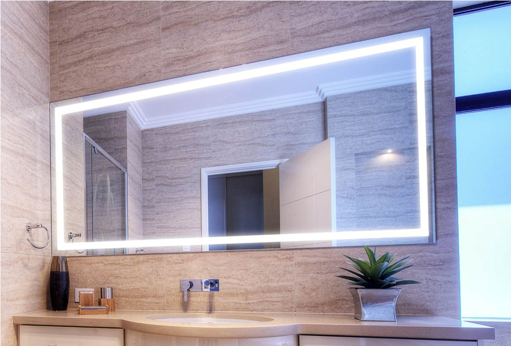 Image of: Lighted Bathroom Mirror Cover