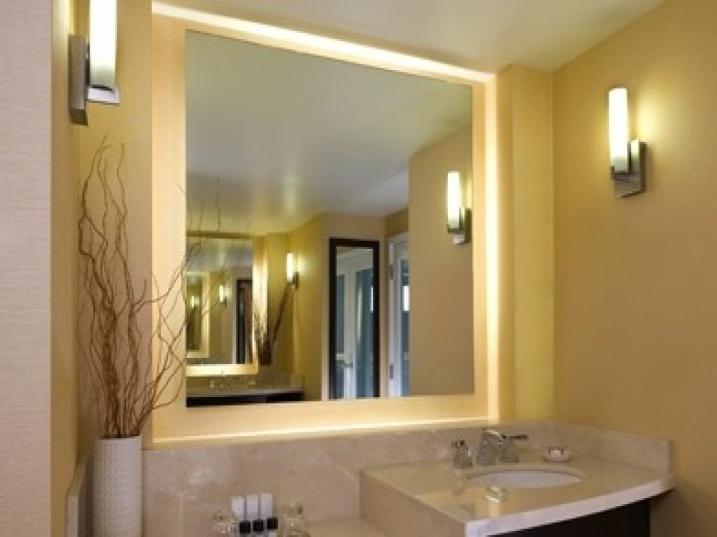 Image of: Lighted Bathroom Mirror Replacement