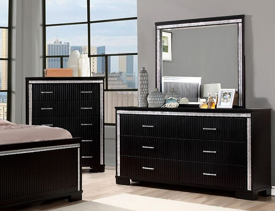 Luxury Black Dresser With Mirror