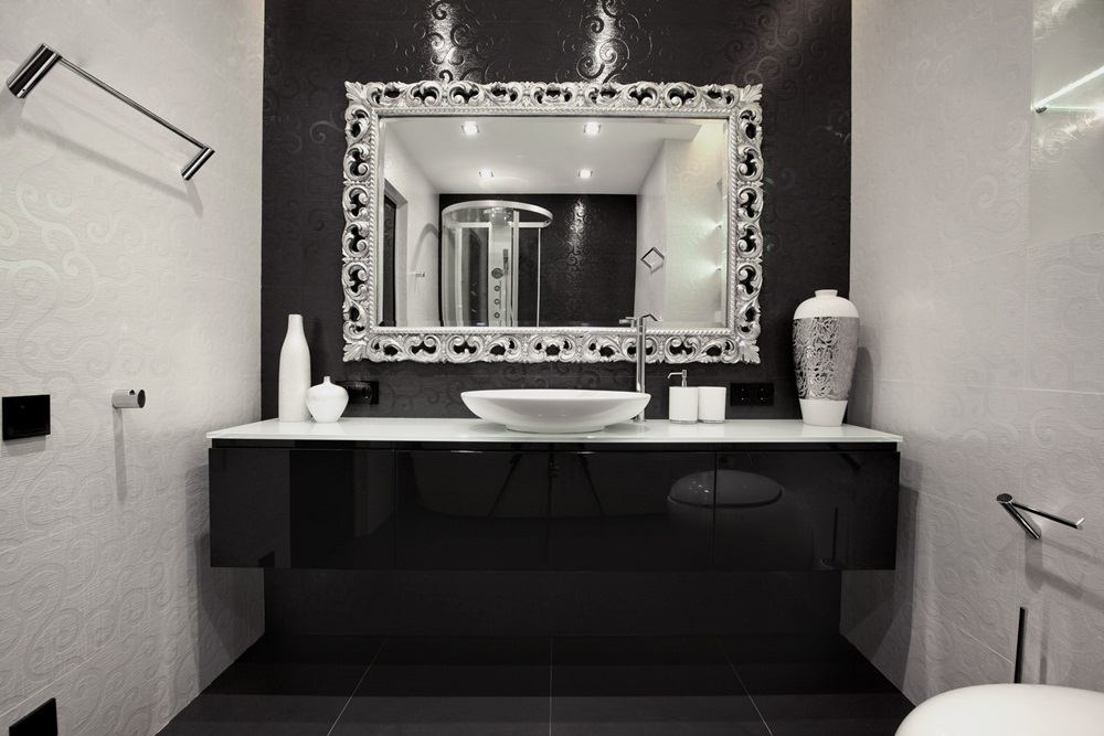 Luxury Brushed Nickel Bathroom Mirror