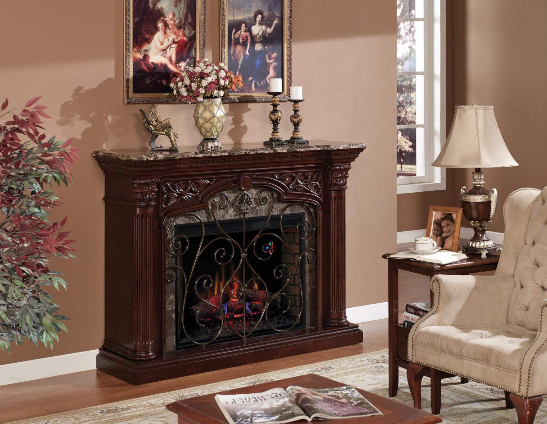 Image of: Mantel With Electric Fireplace