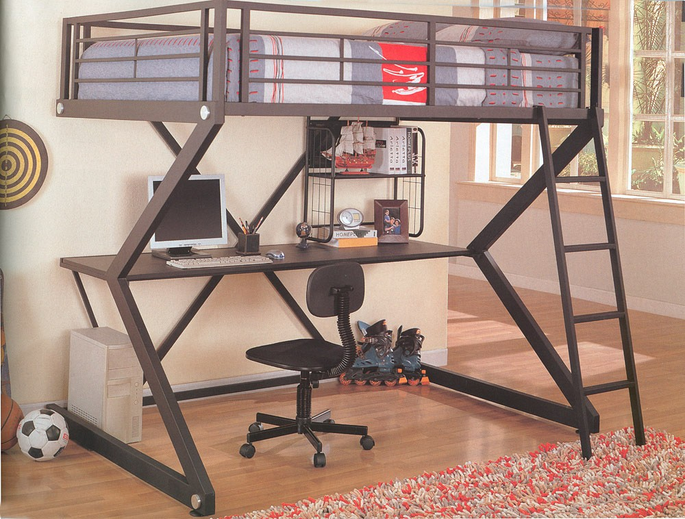 Image of: Metal DIY Loft Full Size Bed computer