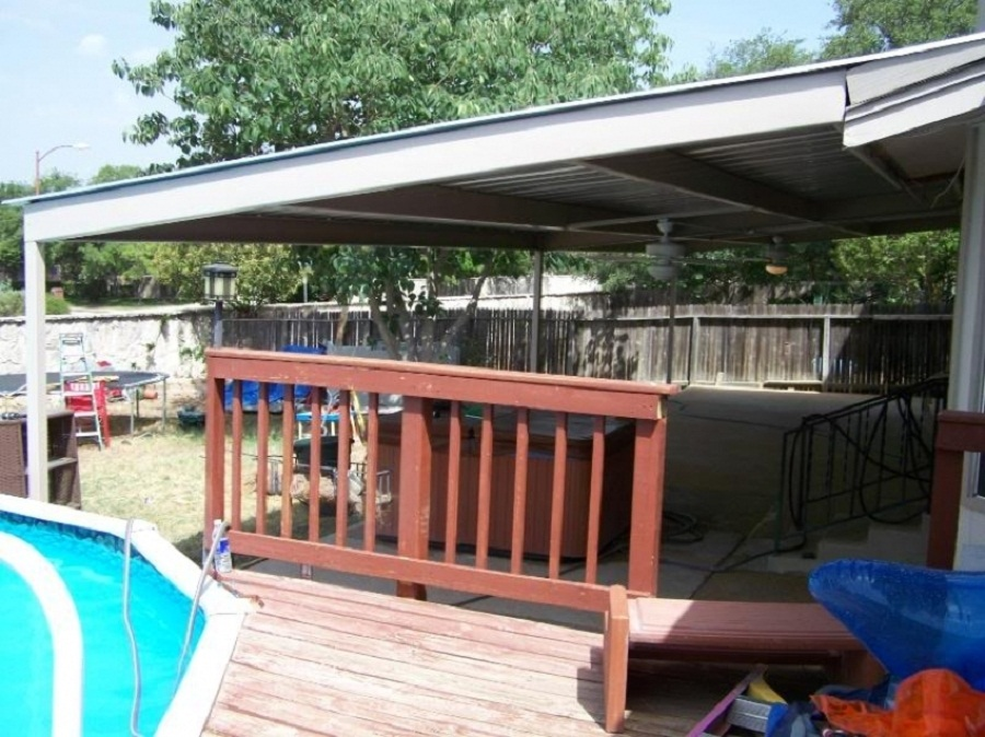 Image of: Metal Patio Awning Install