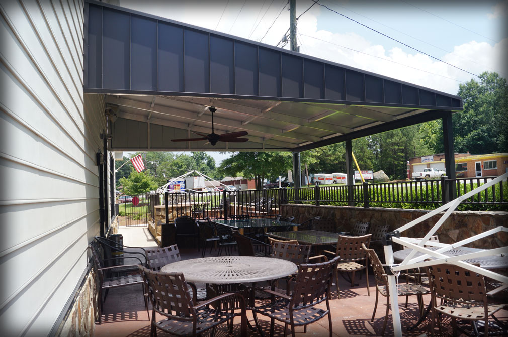 Image of: Metal Patio Awning Size