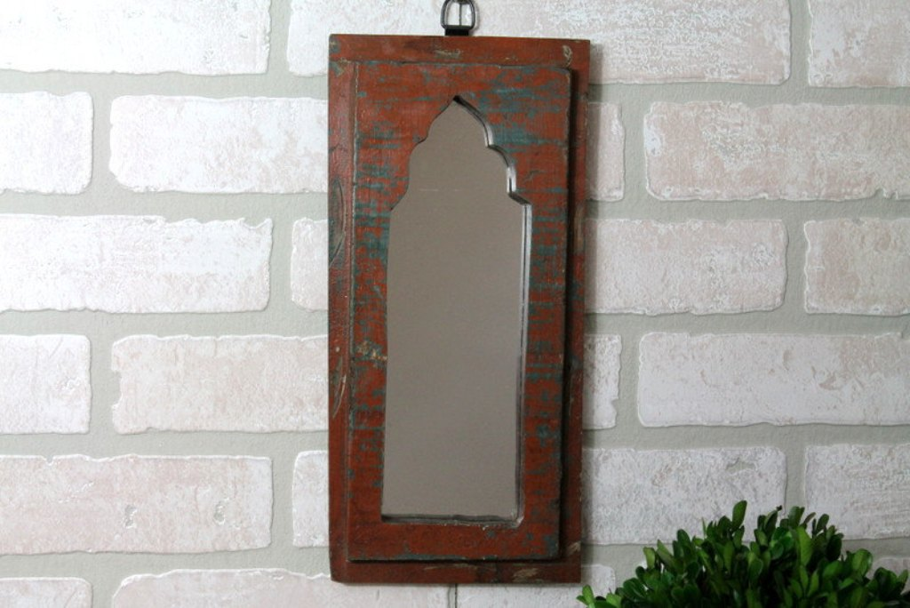 Image of: Metal and Reclaimed Wood Wall Mirror