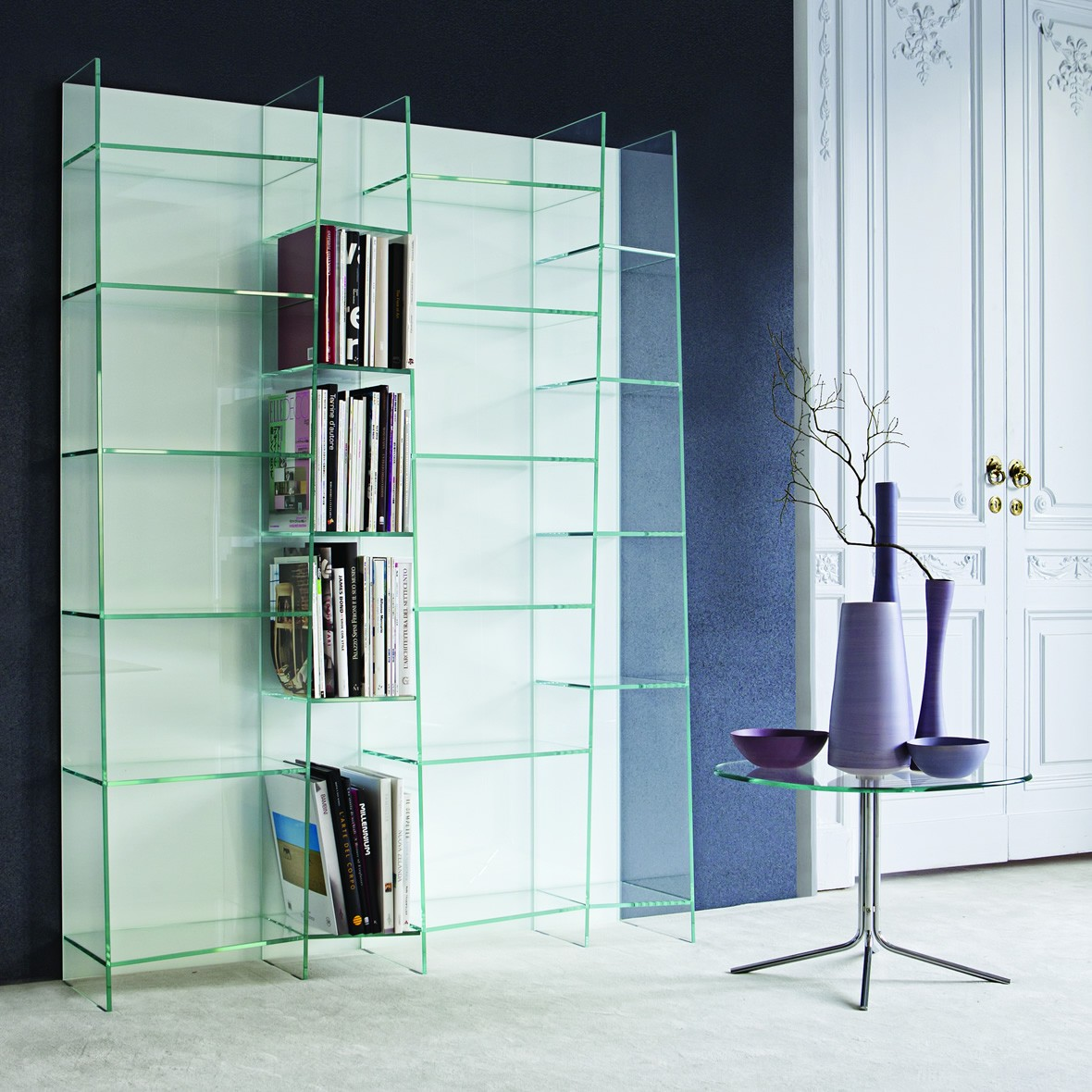Image of: Mirrored Bookcase glass