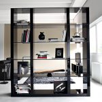 Modern Black Bookcase Room Divider