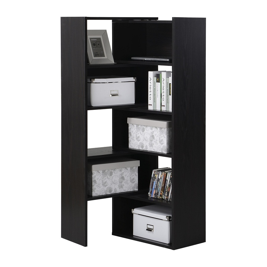 Image of: Modern Corner Bookcase Black