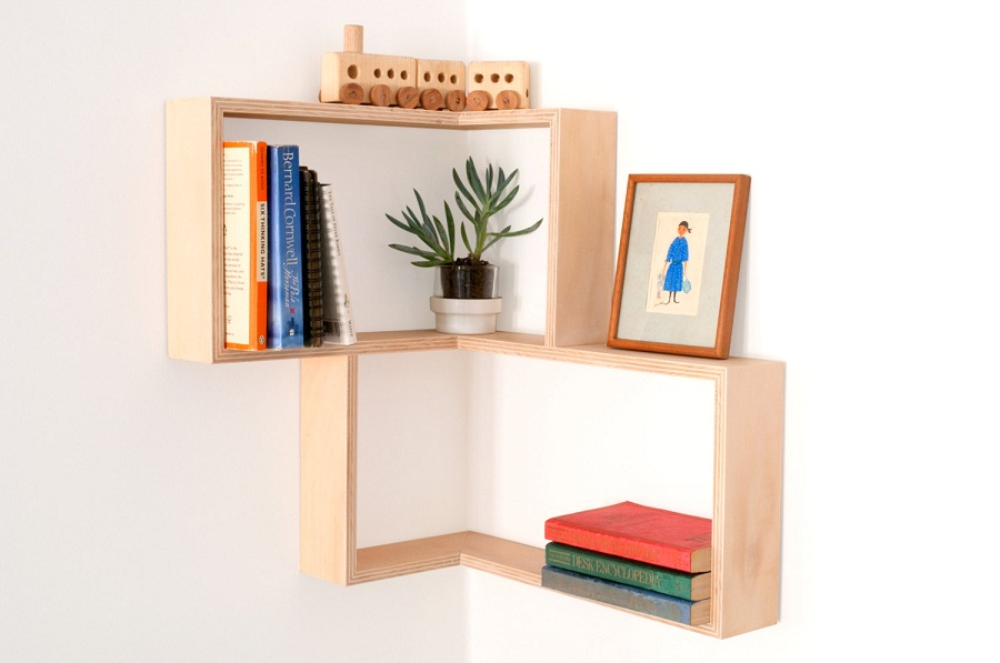 Image of: Modern Corner Bookcase Floating Wall