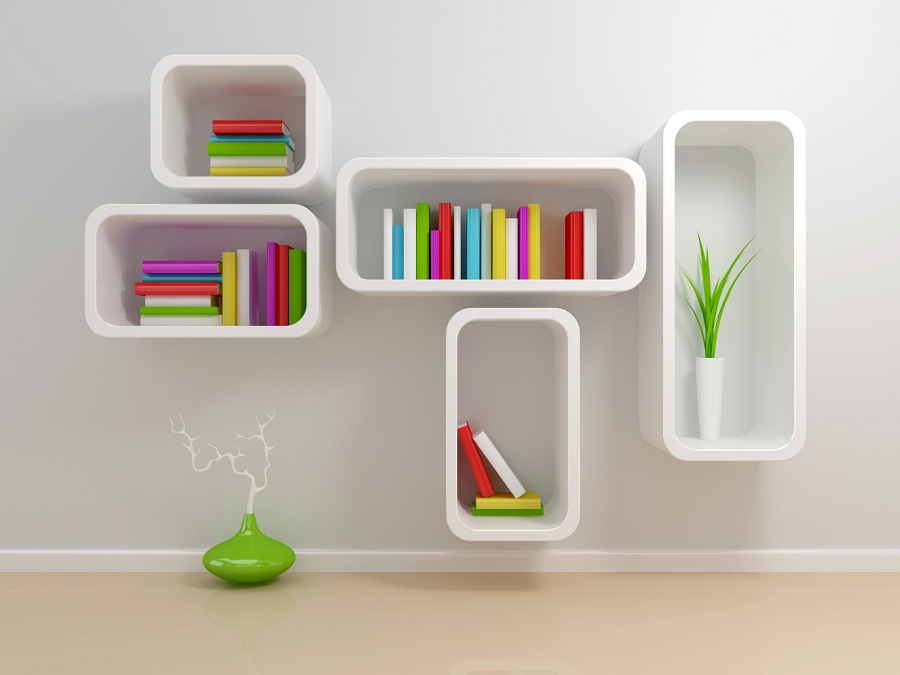 Image of: Modern Corner Bookcase Floating