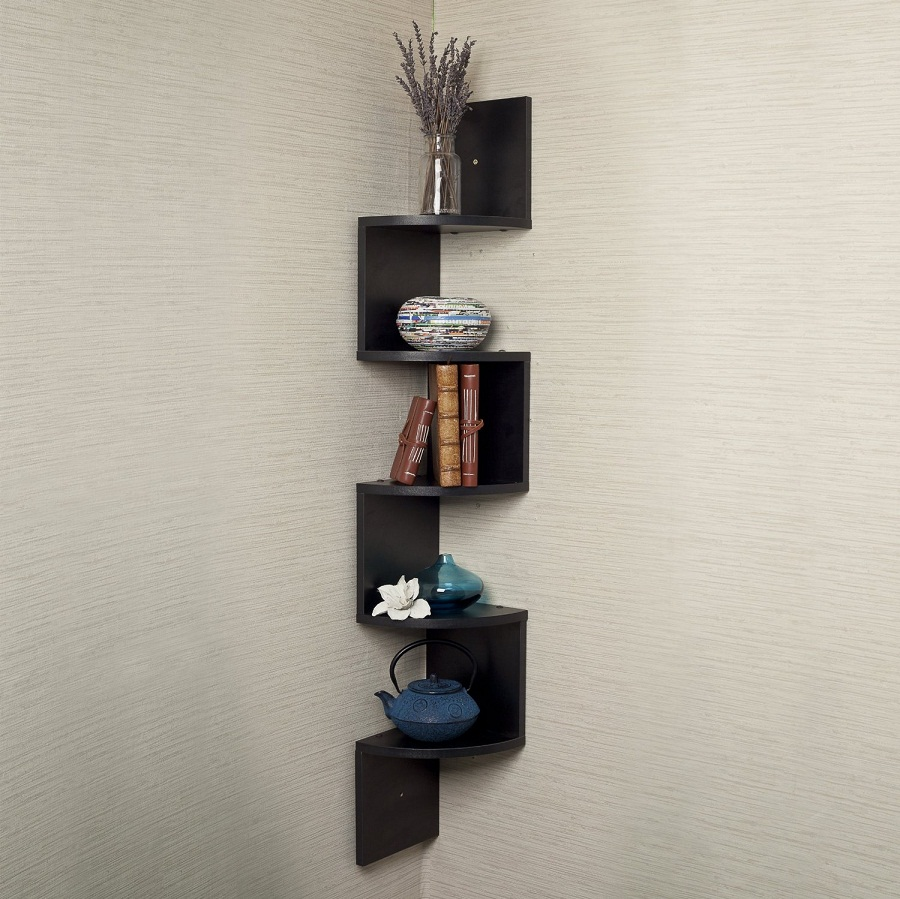 Image of: Modern Corner Bookcase Wall