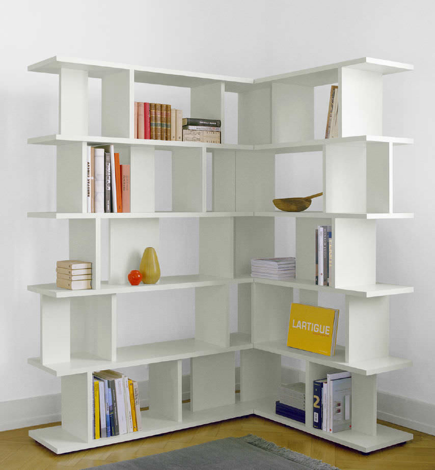 Image of: Modern Corner Bookcase White