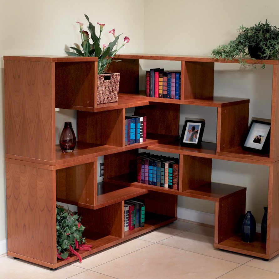 Image of: Modern Corner Bookcase Wood