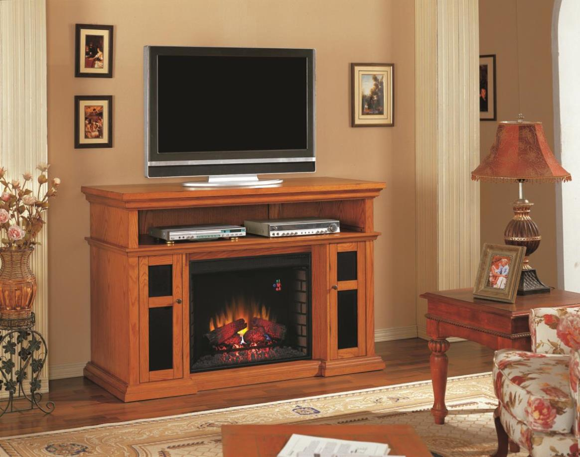 Image of: Modern Electric Fireplace Media Console