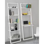 Modern White Leaning Bookcase