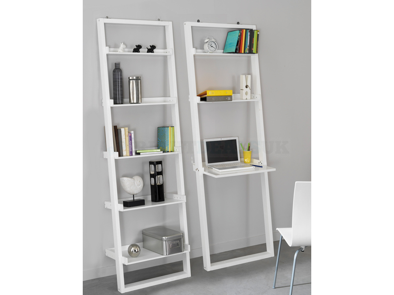 Image of: Modern White Leaning Bookcase