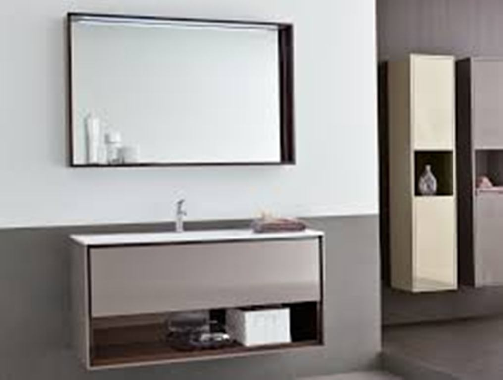 Image of: Mother of Pearl Bathroom Mirror with Shelf