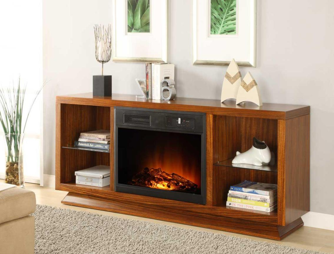 Image of: Oak Tv Stand With Electric Fireplace