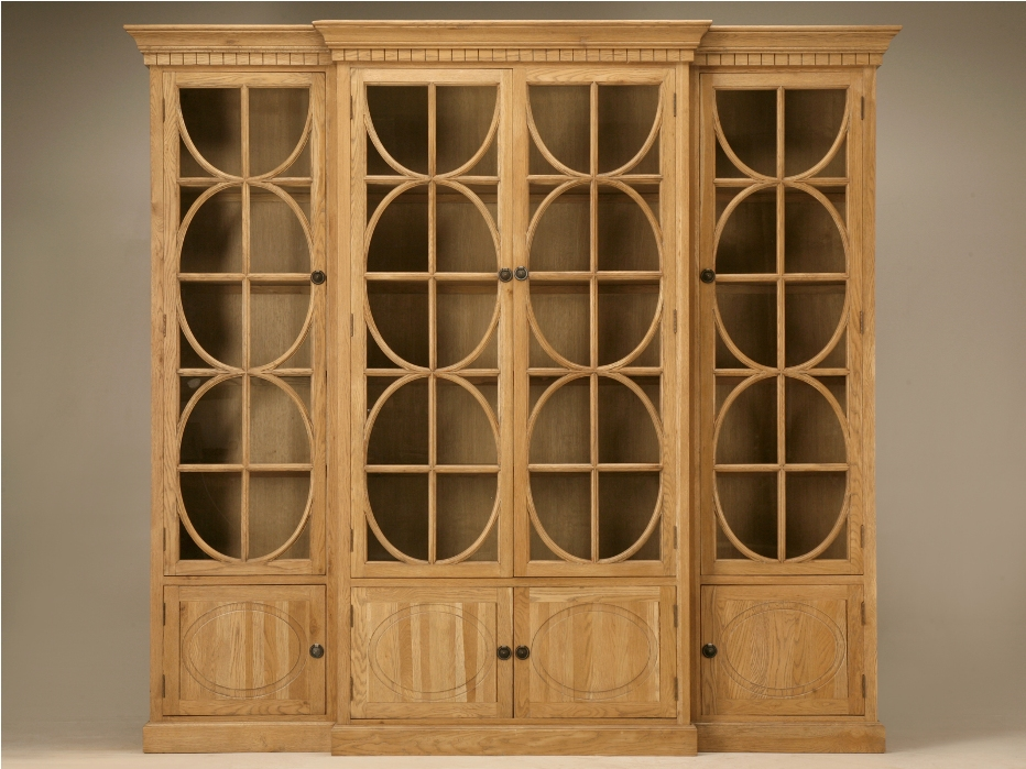 Image of: Oak Bookcases with Glass Doors Images