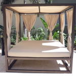 Outdoor Daybed with Canopy Curtains